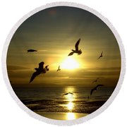 Birds Gathering At Sunset Round Beach Towel