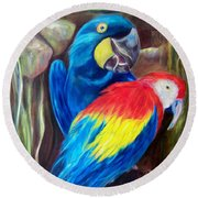 Bird's Of A Feather, Macaws Round Beach Towel