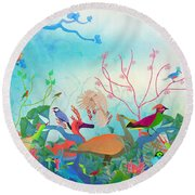 Birds Of My Landscapes - Limited Edition  Of 15 Round Beach Towel by Gabriela Delgado