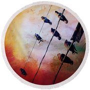 Birds On A Wire Round Beach Towel by Micki Findlay