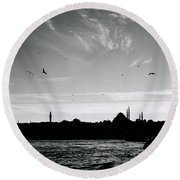 Birds Over The Golden Horn Round Beach Towel