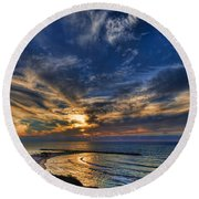 Round Beach Towel featuring the photograph Birdy Bird At Hilton Beach by Ron Shoshani