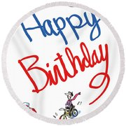 Birthday Bicycle Painter Round Beach Towel
