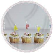 Birthday Cupcakes Round Beach Towel