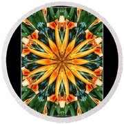 Birthday Lily For Erin Round Beach Towel by Nick Heap
