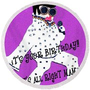 Birthday Mama Round Beach Towel