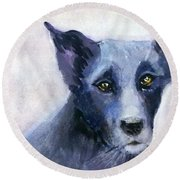 Biskeet The Stray Dog Round Beach Towel