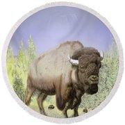 Round Beach Towel featuring the digital art Bison On The Range by Thomas J Herring