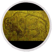 Golden  Buffalo Round Beach Towel