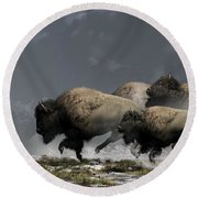 Bison Stampede Round Beach Towel