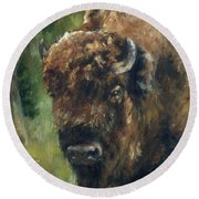 Bison Study - Zero Three Round Beach Towel