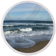 Round Beach Towel featuring the photograph Winter Beach  by Eunice Miller