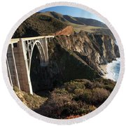 Bixby Bridge Afternoon Round Beach Towel