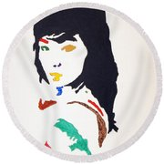 Round Beach Towel featuring the painting Bjork by Stormm Bradshaw