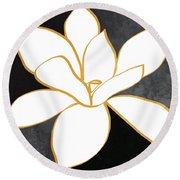 Black And Gold Magnolia- Floral Art Round Beach Towel