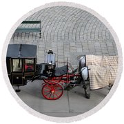Round Beach Towel featuring the photograph Black And Red Horse Carriage - Vienna Austria  by Imran Ahmed