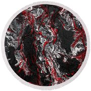 Black And White And Red All Over Round Beach Towel