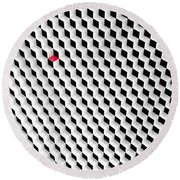 Black And White Cubes With One Red Cube. Round Beach Towel