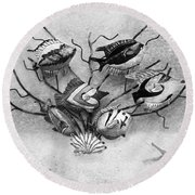 Round Beach Towel featuring the photograph Black And White Fish 1  by Betty LaRue
