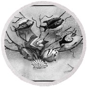 Round Beach Towel featuring the photograph Black And White Fish 2 by Betty LaRue
