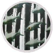 Black And White Fish Round Beach Towel