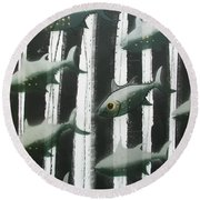 Black And White Fish Round Beach Towel