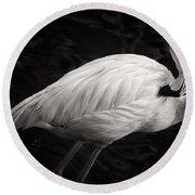 Black And White Flamingo Round Beach Towel