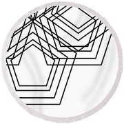 Black And White Geo Round Beach Towel