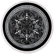 Black And White Gothic Celtic Mermaids Round Beach Towel