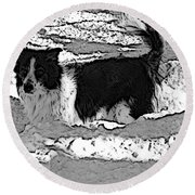 Black And White In Snow Round Beach Towel by Michael Porchik