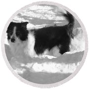 Black And White In The Snow Round Beach Towel by Michael Porchik