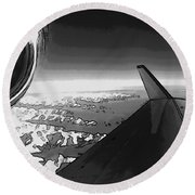 Round Beach Towel featuring the photograph Jet Pop Art Plane Black And White  by R Muirhead Art