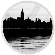 Round Beach Towel featuring the photograph Black And White Nyc Morning Reflections by Lilliana Mendez