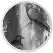 Black And White Ravens Round Beach Towel by Laurianna Taylor