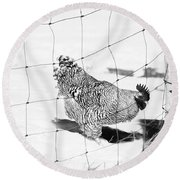 Black And White Rooster Round Beach Towel