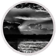 Black And White Sunset Over The Mead Wildlife Area Round Beach Towel