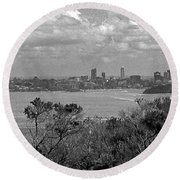 Round Beach Towel featuring the photograph Black And White Sydney by Miroslava Jurcik