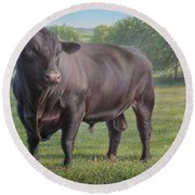 Black Angus Bull 2 Round Beach Towel