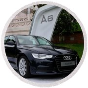 Black Audi A6 Classic Saloon Car Round Beach Towel