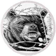 Black Bear Boar Round Beach Towel