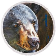 Black Bear The Messenger Round Beach Towel