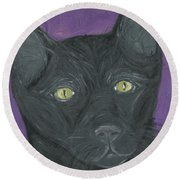 Round Beach Towel featuring the painting Black Cat by Ania M Milo