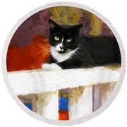 Black Cat In Color Series 2 Round Beach Towel