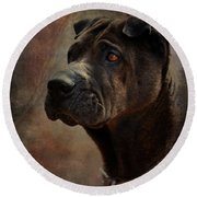 Black Chinese Shar-pei Round Beach Towel