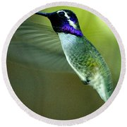Round Beach Towel featuring the photograph Black Chinned Male In Flight To Feeder by Jay Milo