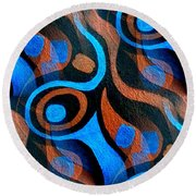 Black Coffee Abstract Round Beach Towel