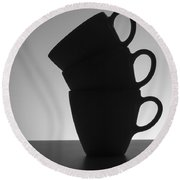 Black Coffee Cups Round Beach Towel by Steven Milner