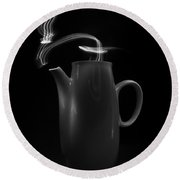 Black Coffee Pot - Light Painting Round Beach Towel by Steven Milner