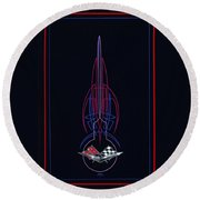 Round Beach Towel featuring the painting Black Corvette by Alan Johnson