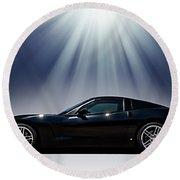 Black Corvette Round Beach Towel